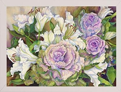 Winston Porter 'Lilies w/ Ornamental Cabbage' Print; White Wood Medium Framed Paper