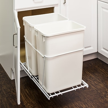 Hardware Resources Double Steel 8.75 Gallon Open Pull Out/Under Counter Trash Can; White