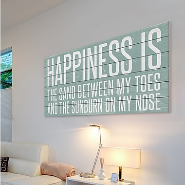 Highland Dunes 'Happiness Is Sand' Textual Art on Wood; 18'' H x 36'' W