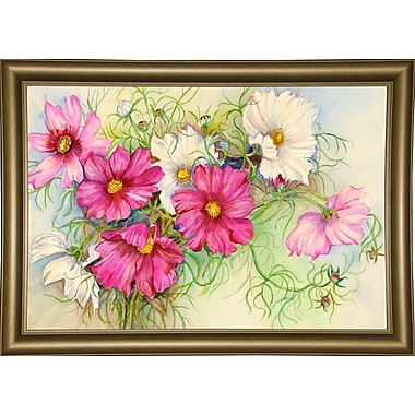 Red Barrel Studio 'Pink and White Cosmos' Print; Paper
