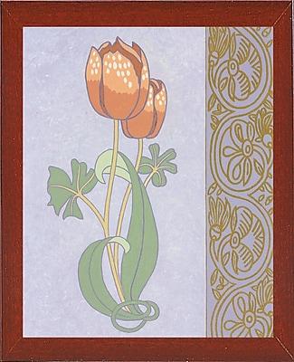 Winston Porter 'Rose Tulip w/ Right Border' Graphic Art Print; Red Mahogany Wood Medium Framed Paper