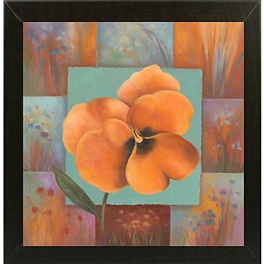 Winston Porter 'Orange Patchwork' Print; Brazilian Walnut Wood Medium Framed Paper