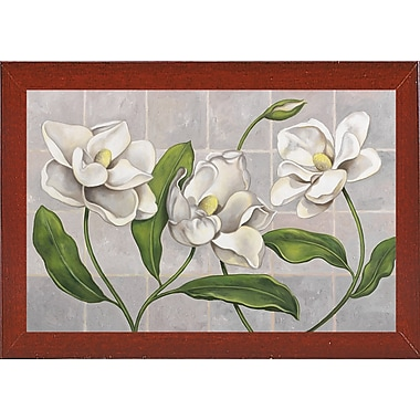 Winston Porter 'White Magnolia' Graphic Art Print; Red Mahogany Wood Medium Framed Paper