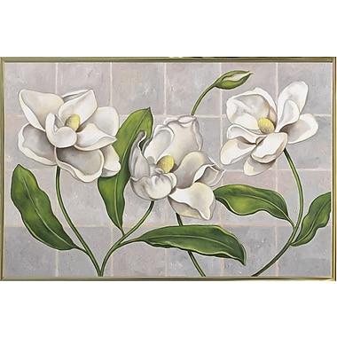 Winston Porter 'White Magnolia' Graphic Art Print; Gold Metal Framed