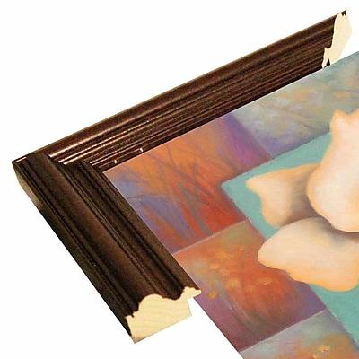 Winston Porter 'White Patchwork' Print; Cherry Wood Grande Framed Paper