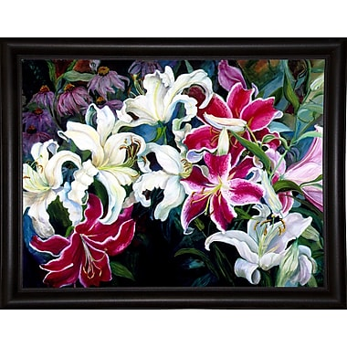Winston Porter 'Field Of White And Pink Lilies' Print; Bistro Expresso Framed Paper