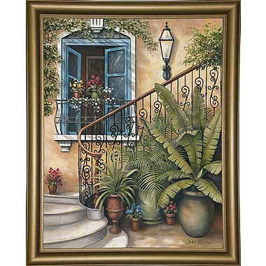 Bay Isle Home 'Stairway To The Sky' Graphic Art Print; Bistro Gold Framed Paper