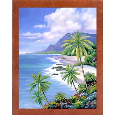 Bay Isle Home 'Tropical Paradise 2' Graphic Art Print; Canadian Walnut Wood Medium Framed Paper