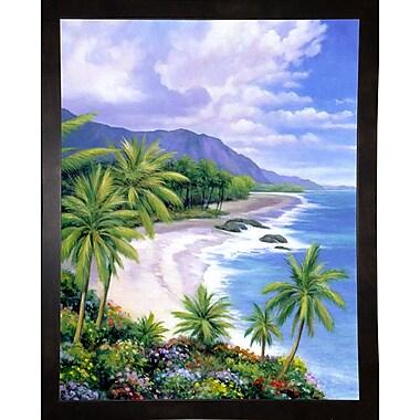 Bay Isle Home 'Tropical Paradise 1' Graphic Art Print; Black Wood Medium Framed Paper