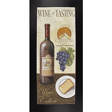 Fleur De Lis Living 'Wine And Cheese 1' Graphic Art Print; Black Wood Large Framed Paper