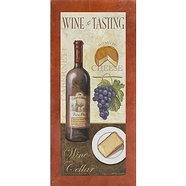 Fleur De Lis Living 'Wine And Cheese 1' Graphic Art Print; Canadian Walnut Wood Medium Framed Paper