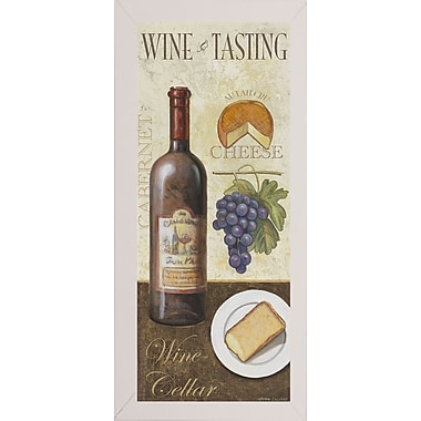 Fleur De Lis Living 'Wine And Cheese 1' Graphic Art Print; White Wood Medium Framed Paper