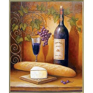 Fleur De Lis Living 'Wine And Cheese B' Graphic Art Print; Gold Metal Framed