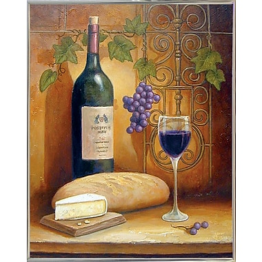 Fleur De Lis Living 'Wine And Cheese A' Graphic Art Print; Silver Metal Framed