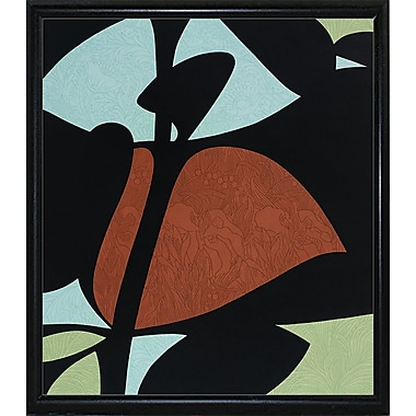 Ebern Designs 'Floral Abstract' Graphic Art Print; Black Metal Flat Framed Paper
