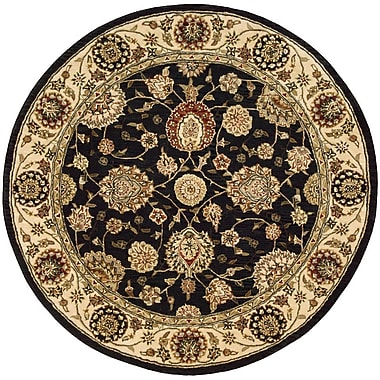 Darby Home Co Ellerswick Hand Woven Wool Midnight Indoor Area Rug; Round 4'