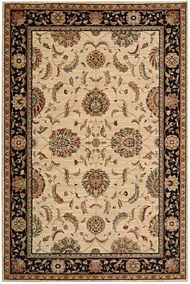 Darby Home Co Crownover Wool Ivory/Black Indoor Area Rug; Rectangle 7'6'' x 9'6''