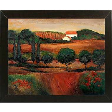 Fleur De Lis Living 'Crimson Light In Tuscany' Print; Brazilian Walnut Wood Medium Framed Paper