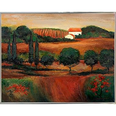 Fleur De Lis Living 'Crimson Light In Tuscany' Print; Silver Metal Framed Paper