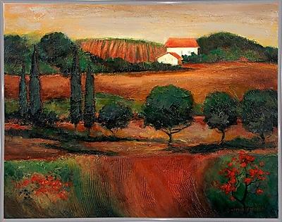 Fleur De Lis Living 'Crimson Light In Tuscany' Print; White Metal Framed Paper