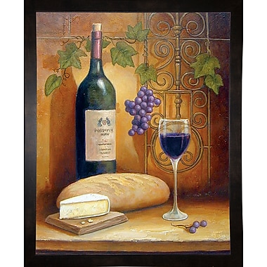Fleur De Lis Living 'Wine And Cheese A' Graphic Art Print; Black Wood Medium Framed Paper