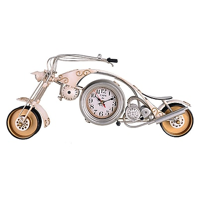 17 Stories Motorcycle Replica Mantel Clock; White
