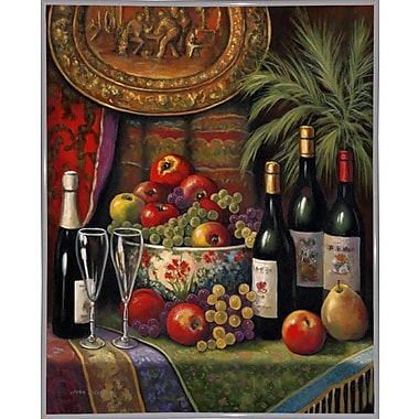 Astoria Grand 'Wine And Floral 1' Graphic Art Print; White Metal Framed