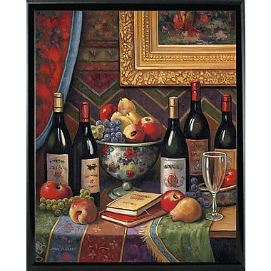 Astoria Grand 'Wine And Floral 2' Graphic Art Print; Shiny Black Metal Framed