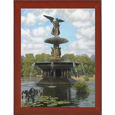 Astoria Grand 'The Fountain' Graphic Art Print; Red Mahogany Wood Medium Framed Paper