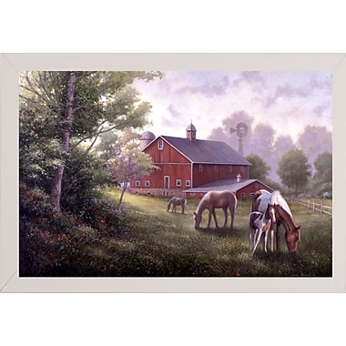 August Grove 'Country Road W/ Horses/Barn' Graphic Art Print; White Wood Medium Framed Paper