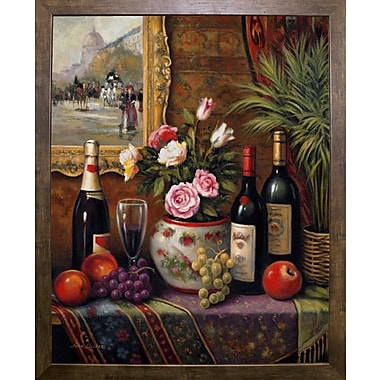 Astoria Grand 'Wine And Floral 3' Graphic Art Print; Cafe Mocha Framed Paper