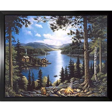 Loon Peak 'Cabin In The Woods' Graphic Art Print; Black Plastic Framed Paper