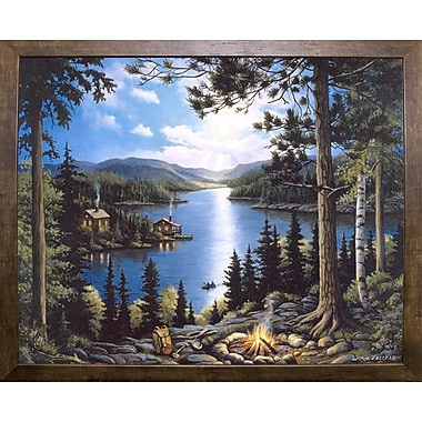 Loon Peak 'Cabin In The Woods' Graphic Art Print; Cafe Mocha Framed Paper