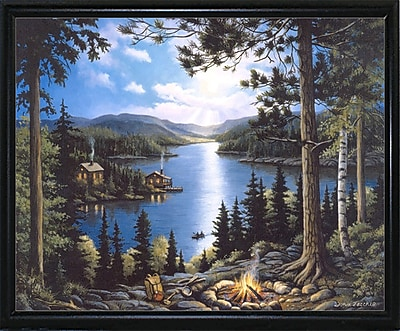 Loon Peak 'Cabin In The Woods' Graphic Art Print; Flat Back Metal Framed