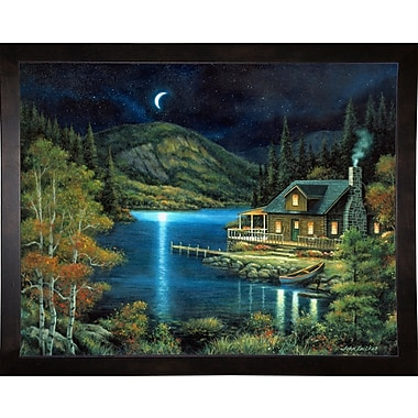 Loon Peak 'Moonlit Cabin' Graphic Art Print; Cafe Espresso Wood Framed Paper