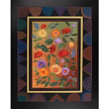 Winston Porter 'Art Deco Bordered Daisies' Graphic Art Print; Black Wood Large Framed Paper