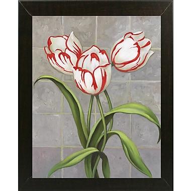Winston Porter 'Red-Striped Tulips' Print; Brazilian Walnut Wood Medium Framed Paper
