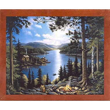Loon Peak 'Cabin In The Woods' Graphic Art Print; Canadian Walnut Wood Medium Framed Paper