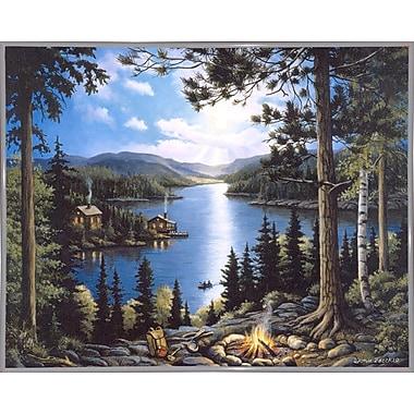Loon Peak 'Cabin In The Woods' Graphic Art Print; White Metal Framed