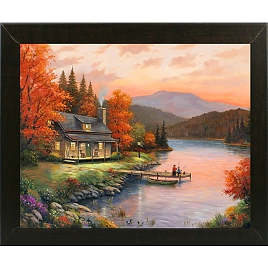 Loon Peak 'Together at Dusk' Graphic Art Print; Brazilian Walnut Wood Medium Framed Paper