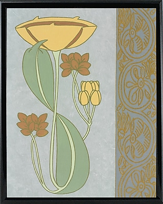 Winston Porter 'Tan Tulip w/ Right Border' Graphic Art Print; Black Metal Framed Paper