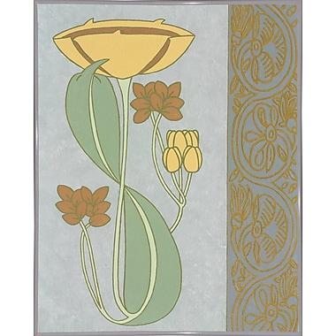 Winston Porter 'Tan Tulip w/ Right Border' Graphic Art Print; White Metal Framed Paper