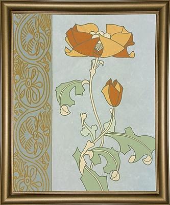 Winston Porter 'Tan Tulip w/ Left Border' Graphic Art Print; Bistro Gold Framed Paper