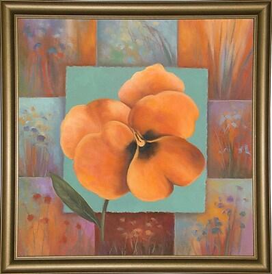 Winston Porter 'Orange Patchwork' Print; Bistro Gold Framed Paper