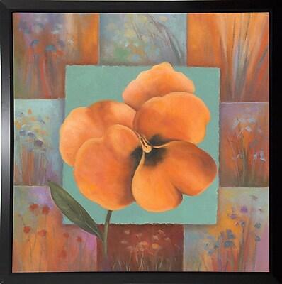 Winston Porter 'Orange Patchwork' Print; Black Plastic Framed Paper