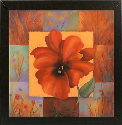 Winston Porter 'Red Patchwork' Print; Brazilian Walnut Wood Medium Framed Paper