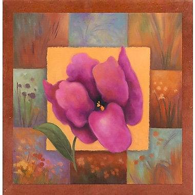 Winston Porter 'Purple Patchwork' Print; Canadian Walnut Wood Medium Framed Paper