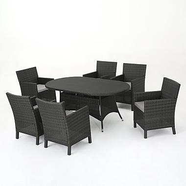 Ivy Bronx Argueta Outdoor Wicker 7 Piece Dining Set w/ Cushions; Gray