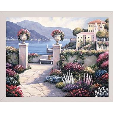 Fleur De Lis Living 'Mediterranean Scene B' Graphic Art Print; White Wood Medium Framed Paper