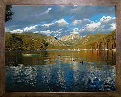 Loon Peak 'Vista Of Grand Lake, Colorado' Graphic Art Print; Cafe Mocha Framed Paper